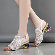 Feminino-Sandálias-Conforto Inovador Sapatos clube-Salto Grosso--Tule Microfibra-Casamento Social Festas & Noite