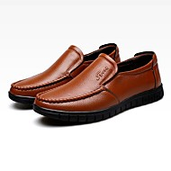 Men's Loafers & Slip-Ons Summer Fall Comfort Leather Office & Career Party & Evening Casual Flat Heel Split Joint Light Brown Coffee Black