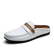 Men's Clogs & Mules Comfort Cowhide Summer Fall Athletic Casual Outdoor Comfort Braided Strap Flat Heel White Brown Flat