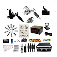 Komplet tatovering kit 2 x stål tatoveringsmaskine til optegning og skygge 2 Tattoo Maskiner LCD strømforsyning Blæk sendes separat