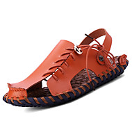 Men's Sandals Comfort Cowhide Spring Summer Fall Casual Outdoor Dress Upstream shoes White Black Light Brown 1in-1 3/4in