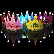 1pcs luminoso led cap princesa feliz aniversario festa decorações coroa levou crianças aniversário cap chapéu festa decorações ramdon cor
