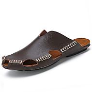 Homme-Décontracté--Talon Plat-Confort-Sandales-Cuir