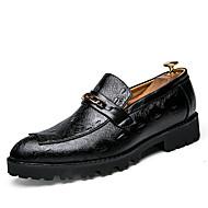 גברים-נעלי אוקספורד-עור-נעליים פורמלית-שחור אדום-חתונה יומיומי מסיבה וערב-עקב שטוח