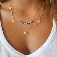 בגדי ריקוד נשים שרשראות תליון טורקיז תכשיטים ציפוי זהב טורקיז סגסוגת עיצוב בייסיק שכבה כפולה מותאם אישית אופנתי מוזהב תכשיטים לParty