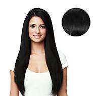 9pcs / set deluxe 120g # 1 mustan leikkeen hiusten pidennykset 16inch 20inch 100% hiuksista