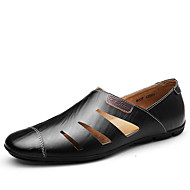 Men's Oxfords Spring Summer Moccasin Comfort Cowhide Office & Career Party & Evening Casual Flat Heel Blue Brown Black