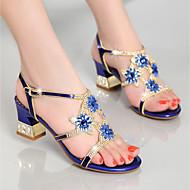 Feminino Sandálias Sapatos clube Pele Napa Verão Casual Social Festas & Noite Sapatos clube Pedrarias Salto Grosso Dourado Roxo Azul5 a 7
