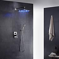 Contemporaneo Art déco/Retrò Modern Montaggio su parete LED Doccia a pioggia Doccetta estraibile with  Valvola in ottoneUna manopola Due