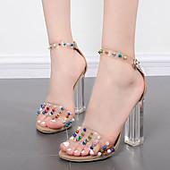 レディース-ドレスシューズ-ラバー-チャンキーヒール-透明靴-サンダル-