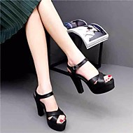 Women's Heels Spring Club Shoes PU Casual Dark Green Black White