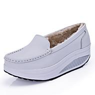Dame-Kunstlær-Kilehæl-Komfort-一脚蹬鞋、懒人鞋-Fritid-Hvit Gul Blå