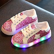 Mädchen Sneaker Leuchtende LED-Schuhe Luminous Schuh Lauflern Kunstleder Frühling Herbst Hochzeit Normal LED Niedriger AbsatzGold Grün