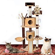 猫用おもちゃ ペット用おもちゃ インタラクティブ チューブ/トンネル 耐用的 スクラッチマット ウッド プラッシュ ベージュ Brown