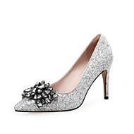 Femme Chaussures Polyuréthane Eté A Bride Arrière Chaussures à Talons Pour Décontracté Noir Argent