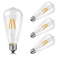 4W E26/E27 Izzószálas LED lámpák ST64 4 COB 400 lm Meleg fehér Dekoratív AC 220-240 V 4 db.