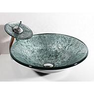 Zeitgenössisch Rundförmig Material der Becken ist Hartglas Waschbecken für Badezimmer