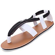 Miehet Sandaalit Comfort PU Kesä Ulkoilu Tasapohja Valkoinen Musta Vaalean ruskea Tasapohja