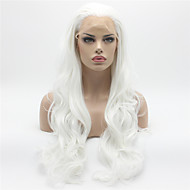 Mulher Perucas sintéticas Frente de Malha Longo Onda de Corpo Branco Riscas Naturais Peruca Natural Peruca de Halloween Peruca de carnaval