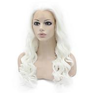 Biała koronkowa koronkowa koronka przednia luźna fala włosa odporna na ciepło włókno włosowe peruki dla kobiet