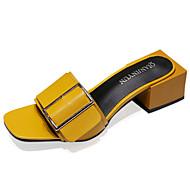 Női Szandálok Kényelmes PU Nyár Kényelmes Alacsony Fehér Fekete Sárga 3 inch-3 3 / 4 inch