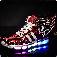 Boys' Sneakers Summer Fall Light Up Shoes Comfort Novelty PU Outdoor Athletic Casual Flat Heel LED Lace-up Red Silver Black Gold Walking