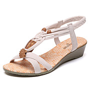 Ženske Sandale Udobne cipele PU Ljeto Kauzalni Udobne cipele S volanima Ravna potpetica Niska potpetica Crn Bež 2.5 cm - 4.5 cm