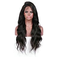 Női Emberi hajból készült parókák Brazil Remy Csipke eleje Tüll homlokrész 130% Sűrűség Tincselve Hullámos Hullámos haj Paróka Jet Black