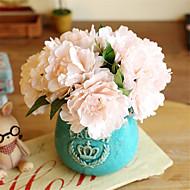 5 Peças 5 Ramo Seda Peônias Flor de Mesa Flores artificiais