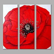 IARTS Oil Painting Modern Abstract Big Red Flower Set of 3 Art Acrylic Canvas Wall Art For Home Decoration