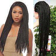 Vrouw Lang Zwart Haar Gevlochten Pruik Afrikaanse Braids Natuurlijke haarlijn Synthetisch haar Kanten VoorkantHalloween Pruik Carnaval