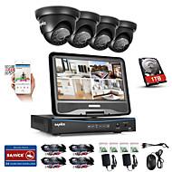 Sannce® 8ch 4pcs 720p weerbestendig beveiligingssysteem 4in1 1080p lcd dvr ondersteund tvi analoge ahd ip camera 1tb hd