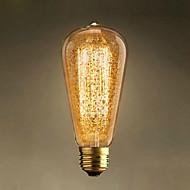 1pcs 60w st64 gyllene snøfnugg e27 vintage edison pærer glødelamper glødelamper retro lys for anheng lampe ac220-240v