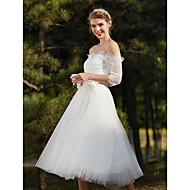 A-line Wedding Dress Little White Dress Tea-length Off-the-shoulder Lace with Flower