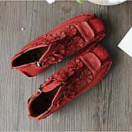 Для женщин На плокой подошве Наппа Leather Кожа Весна Желтый Красный На плоской подошве