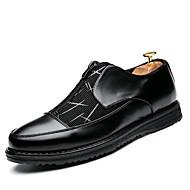 メンズ オックスフォードシューズ フォーマルシューズ 去勢牛の靴 レザーレット 春 夏 秋 冬 ウェディング カジュアル パーティー ウォーキング ジッパー フラットヒール ブラック フラット