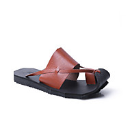Miehet Sandaalit Valopohjat Nahka Kevät Kesä Rento Kävely Tasapohja Valkoinen Musta Ruskea Tasapohja