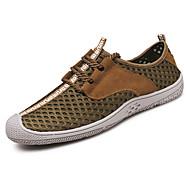 Men's Sandals Comfort PU Spring Fall Winter Casual Comfort Flat Heel Light Brown Blue Gray Flat