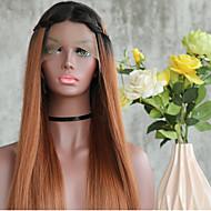 Mulher Perucas sintéticas Frente de Malha Longo Liso Preto / Medium Browm Perucas Trançadas Peruca Afro Americanas Para Mulheres Negras