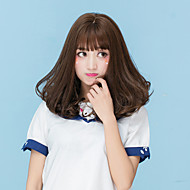 Women Medium Dark Brown Chestnut Brown Ash Brown Brown Grey Natural Wave Middle Part With Bangs Synthetic Hair CaplessHalloween Wig