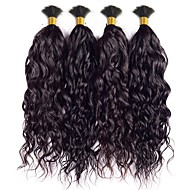 インドの水の波の処女の髪の縮毛人間の編みの髪のバルクいいえ緯糸のマイクロ毛のための人間の髪天然黒4個のロット