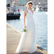 LAN TING BRIDE A-line Wedding Dress Floral Lace Sweep / Brush Train Halter Lace with Lace