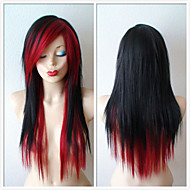 Black /Wine Red Scene Hairstyle Wig Emo Long Straight Black Hair Wig for Daytime Use or Cosplay Wig Heat Resistant