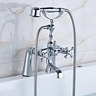 アンティーク調 伝統風 田舎風 バスタブとシャワー ワイドspary ハンドシャワーは含まれている 回転可 with  セラミックバルブ 3つのハンドル二つの穴 for  クロム , 浴槽用水栓