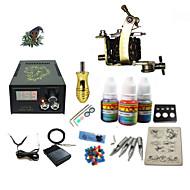 Kits de Tatuagem para Iniciantes 1xMáquina Tatuagem de aço para linhas e sombras LCD de alimentação 5 x Agulha de Tatuar RL 3 Kit completo