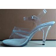 Femme Chaussures à Talons PVC Paillette Eté Automne Strass Cristal Talon Aiguille Talon cristal Blanc 10 à 12 cm