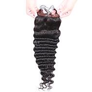 Beata hår brasiliansk jomfruhår dyp bølge 4x4 blonder lukning fri del naturlig farge (8-20inch)