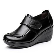 Dames Sneakers Comfortabel Lente Nappaleer Leer Causaal Zwart Plat