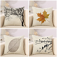 Set Of 4 Vintage Plant Leaf Printing Pillow Case Creative Square Pillow Cover Sofa Cushion Cover