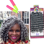 Curly Braids Heklet Krøllet Syntetisk hår Medium Rødbrun Sort / Medium Rødbrun Svart / Burgund Mellombrun Grey Gradient Hårforlengelse 10""